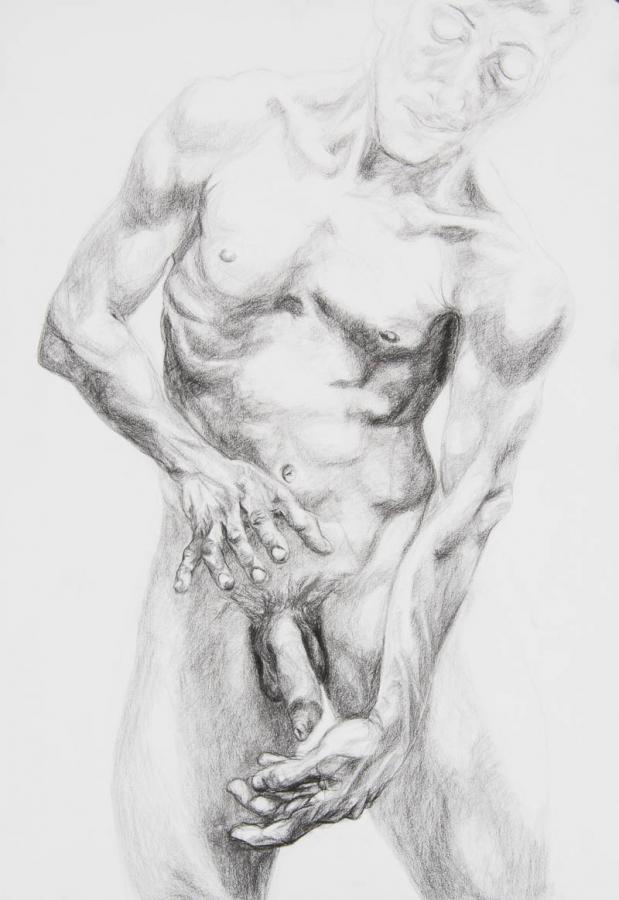 torso met blik naar en met handen rond geslacht